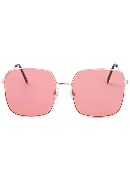 Seventyseven Lifestyle Damen Retro Square Sunglasses UV-400 Protection hell rot