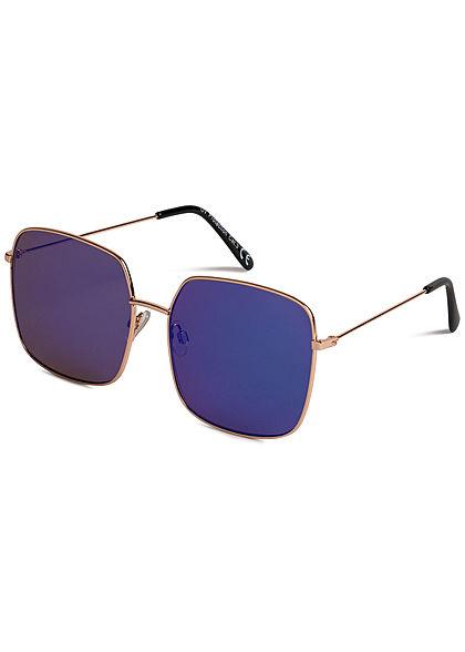 Seventyseven Lifestyle Damen Retro Square Sunglasses UV-400 Protection blau grün