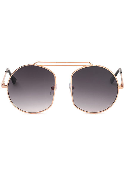 Seventyseven Lifestyle Damen Retro Round Sunglasses UV-400 Protection gold schwarz