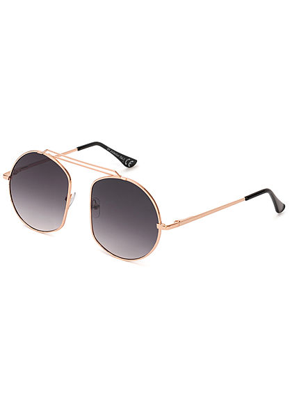 Seventyseven Lifestyle Damen Retro Round Sunglasses UV-400 Protection gold schwarz