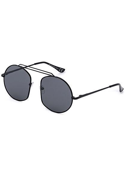 Seventyseven Lifestyle Damen Retro Round Sunglasses UV-400 Protection schwarz