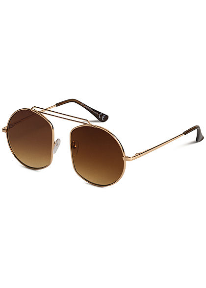 Seventyseven Lifestyle Damen Retro Round Sunglasses UV-400 Protection braun