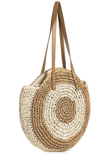 Styleboom Fashion Damen 2-Tone Basket Circle Shopper beige braun