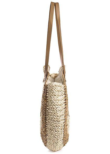 Styleboom Fashion Damen 2-Tone Basket Circle Shopper beige braun