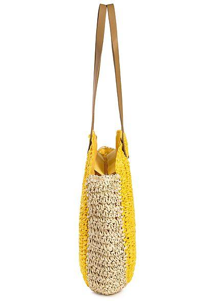 Styleboom Fashion Damen 2-Tone Basket Circle Shopper gelb beige
