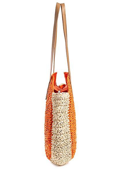 Styleboom Fashion Damen 2-Tone Basket Circle Shopper orange beige