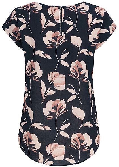 ONLY Damen Blouse Shirt Zipper Flower Print NOOS night sky navy blau rosa