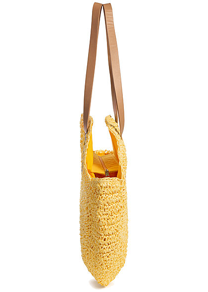 Styleboom Fashion Damen Basket Circle Shopper gelb