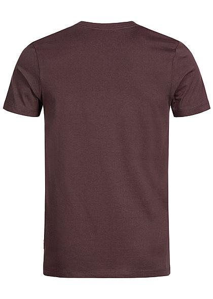 Jack and Jones Herren Printed T-Shirt Stripes fufge bordeaux rot