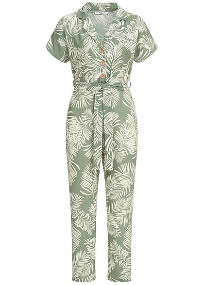 Hailys Damen 3/4 Belted Jumpsuit Floral Print Buttons Front khaki weiss