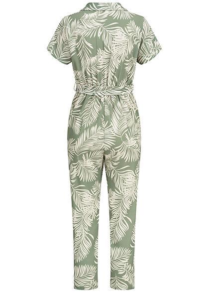 Hailys Damen 3/4 Belted Jumpsuit Floral Print Buttons Front khaki weiss