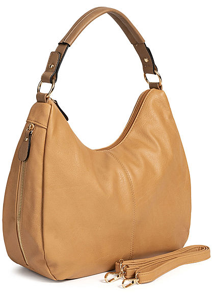 Styleboom Fashion Damen Tote Zip Bag camel braun