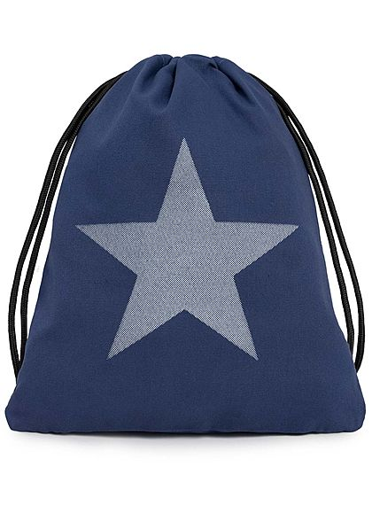 Styleboom Fashion Damen Draw String Bag Star Print navy blau