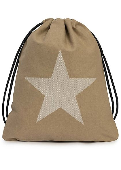 Styleboom Fashion Damen Draw String Bag Star Print khaki