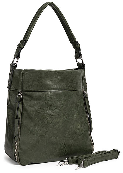 Styleboom Fashion Damen Tote Zip Bag dunkel grün