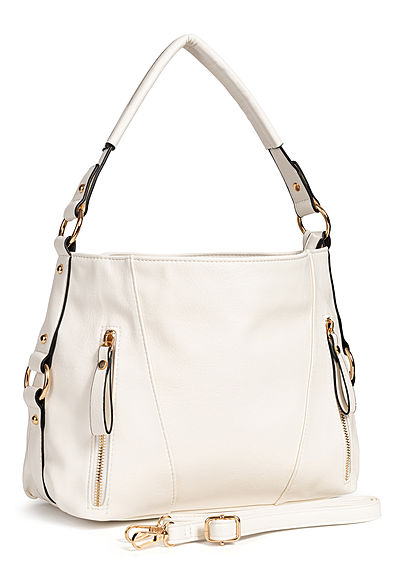 Styleboom Fashion Damen Tote Zip Bag weiss
