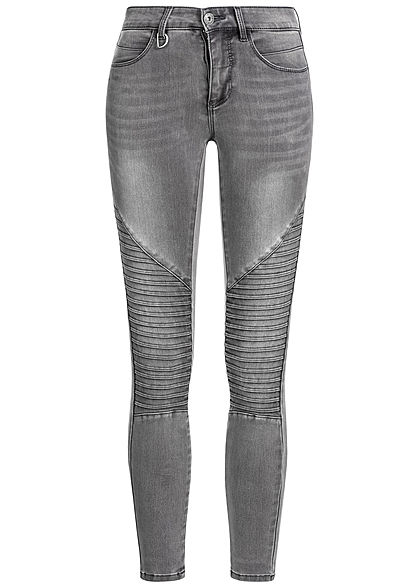 ONLY Damen Biker Skinny Jeans 4-Pockets dunkel grau denim