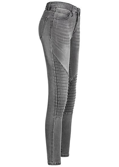 ONLY Damen Biker Skinny Jeans 4-Pockets dunkel grau denim