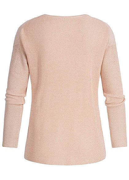 ONLY Damen Sweater Allover Glitter pearl rosa gold