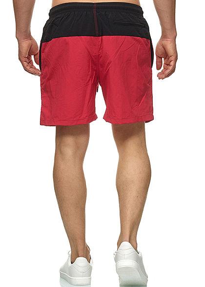 Urban Classics Herren Block Swim Shorts 2-Pockets schwarz rot