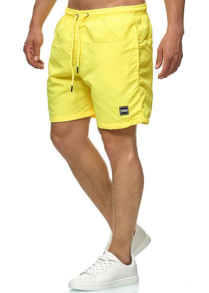 Urban Classics Herren Block Swim Shorts 2-Pockets Tunnelzug neongelb