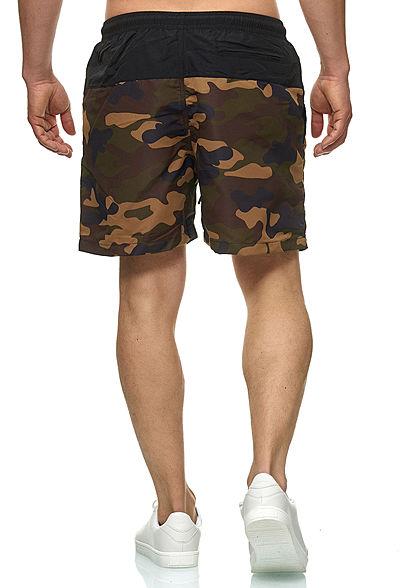 Urban Classics Herren Block Swim Shorts 2-Pockets Tunnelzug schwarz woodcamo