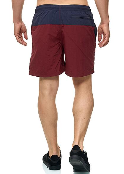 Urban Classics Herren Block Swim Shorts 2-Pockets navy blau burgundy