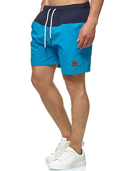 Urban Classics Herren Block Swim Shorts 2-Pockets navy blau türkis