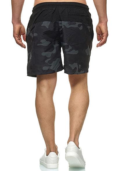 Urban Classics Herren Block Swim Shorts 2-Pockets schwarz dark camo