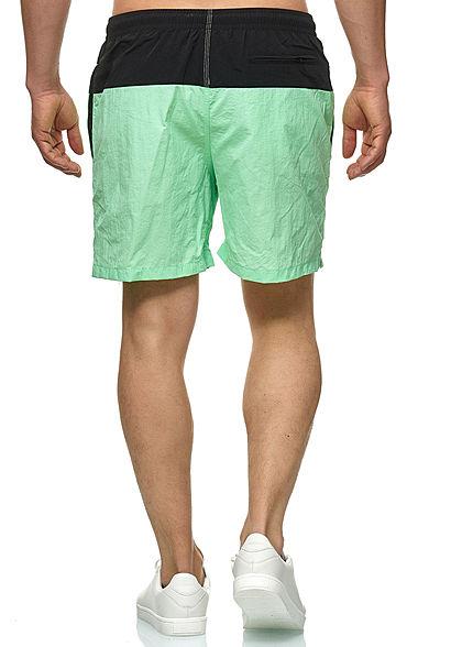Urban Classics Herren Block Swim Shorts 2-Pockets schwarz neomint