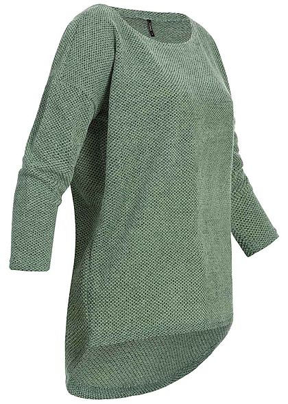 ONLY Damen NOOS 3/4-Arm Struktur Shirt Vokuhila bay grün
