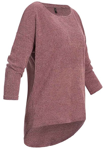 ONLY Damen NOOS 3/4-Arm Struktur Shirt Vokuhila dry rosa