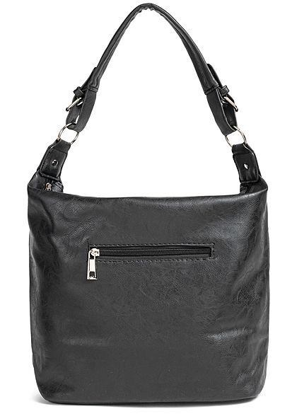 Styleboom Fashion Damen 2-Tone Tote Zip Bag schwarz blau