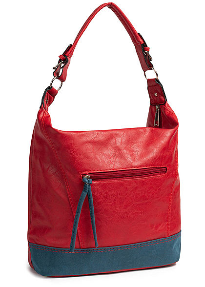 Styleboom Fashion Damen 2-Tone Tote Zip Bag rot blau
