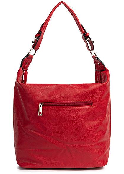 Styleboom Fashion Damen 2-Tone Tote Zip Bag rot blau