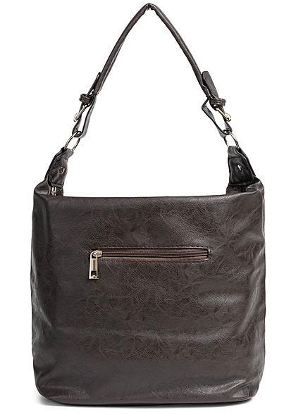 Styleboom Fashion Damen 2-Tone Tote Zip Bag dunkel braun grün