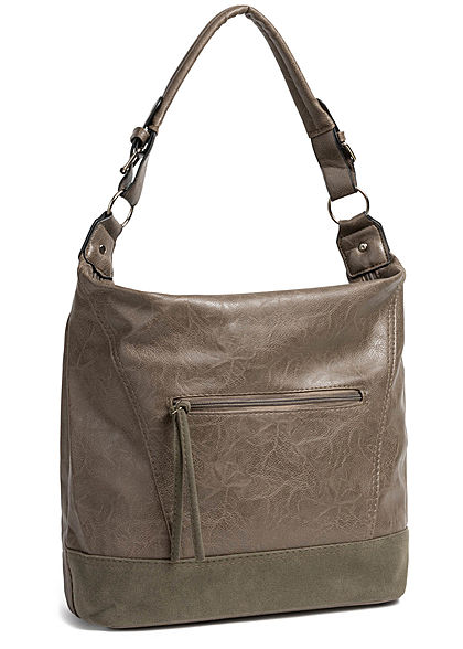 Styleboom Fashion Damen 2-Tone Tote Zip Bag coffee braun grün