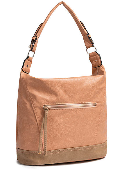 Styleboom Fashion Damen 2-Tone Tote Zip Bag rosa braun