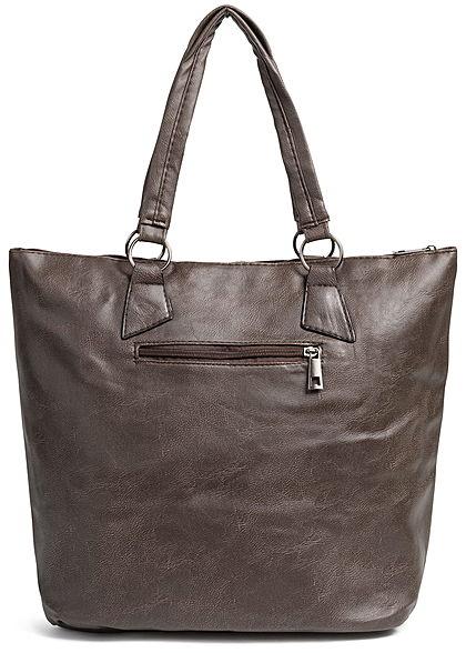 Styleboom Fashion Damen Tote Zip Bag coffee braun