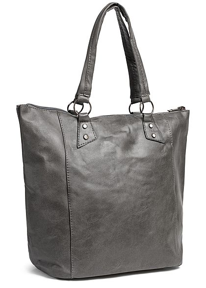 Styleboom Fashion Damen Tote Zip Bag dunkel grau