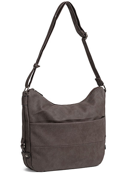 Styleboom Fashion Damen Tote Zip Bag coffee braun