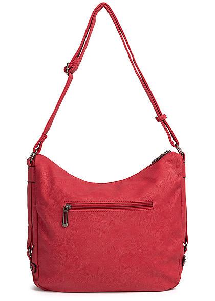 Styleboom Fashion Damen Tote Zip Bag bady andy rot