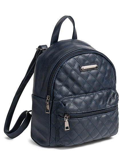 Styleboom Fashion Damen Small Quilted Backpack navy blau