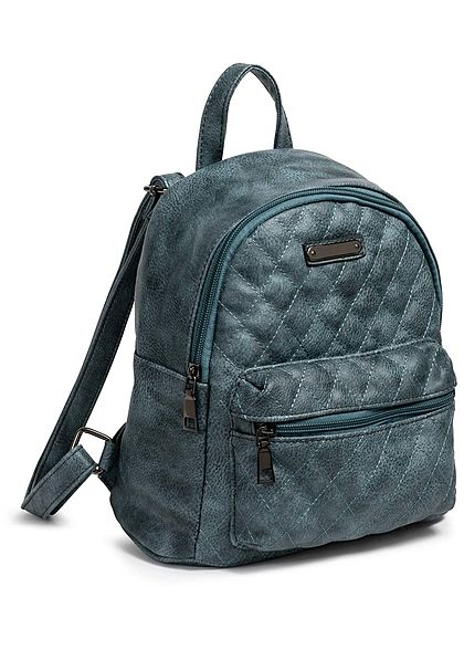 Styleboom Fashion Damen Small Quilted Backpack blau