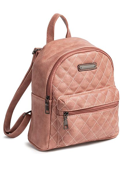 Styleboom Fashion Damen Small Quilted Backpack pink rosa