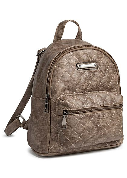 Styleboom Fashion Damen Small Quilted Backpack braun