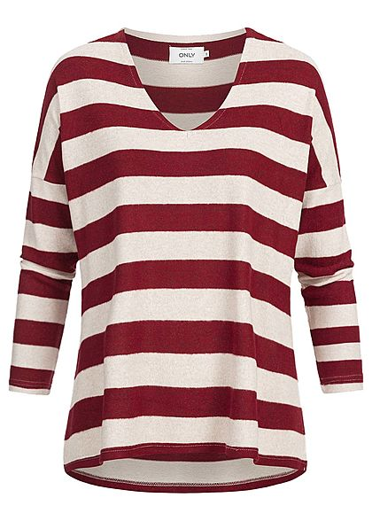 ONLY Damen Oversized Striped V-Neck Pullover haselnuss merlot rot
