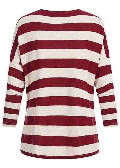 ONLY Damen Oversized Striped V-Neck Pullover haselnuss merlot rot