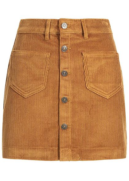 ONLY Damen Cord Skirt Buttons Front 2-Pockets NOOS rustic braun