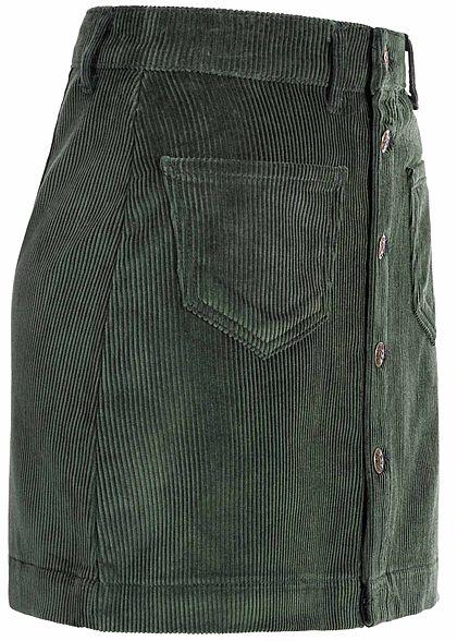 ONLY Damen Cord Skirt Buttons Front 2-Pockets NOOS gables grün